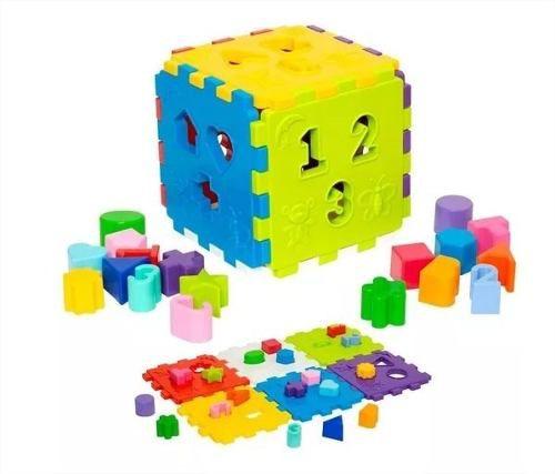 Cubo Didático Colorido Blocos Encaixar Educativo Mercotoys