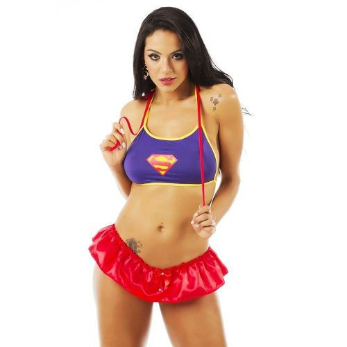 Fantasia Heróis Super Girl Saia e top Pimenta Sexy