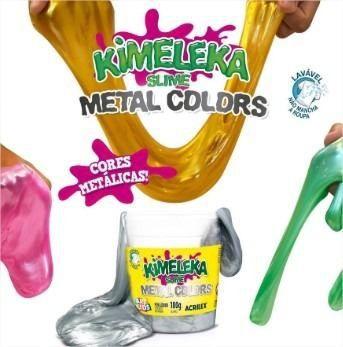 Slime Metálica Caixa com 12 unidades Kimeleka 180g Acrilex