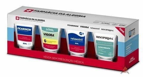Conjunto 4 Copos De Dose 60 Ml Sátiras Remédio Farmácia Tarja Vermelha Brasfoot