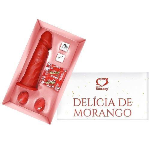 Kit Erótico Delícia De Morango Animar Fantasia Prótese, dado e Vela Sexual Sexy Fantasy