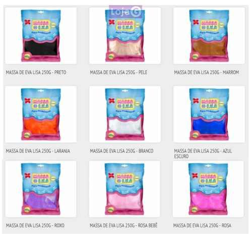 Massa De Eva Lisa pacote com 250g Kit Com 5 Pacotes Cores Variadas Make Mais