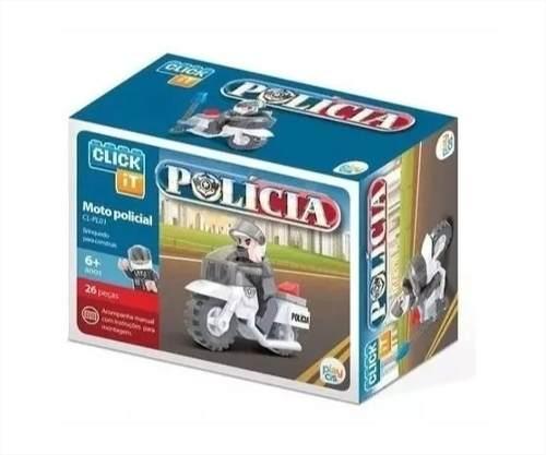 Moto Policial 26 Peças Click It Tipo Lego Play Cis