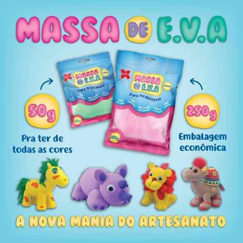 Massa Eva Lisa Artesanato 50g Massinha 11 Unidades Make Mais