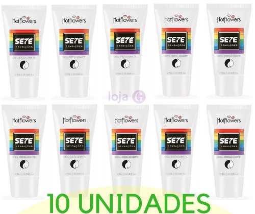 Kit 10 unidades Atacado Gel Sete Sensações Sexo Anal 7x1 25g Hot Flowers
