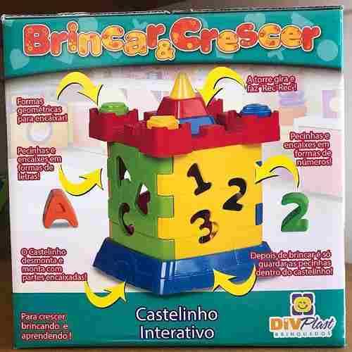 Jogo Pedagógico de Encaixe Brinquedo Educativo Castelinho Interativo Didático Diviplast