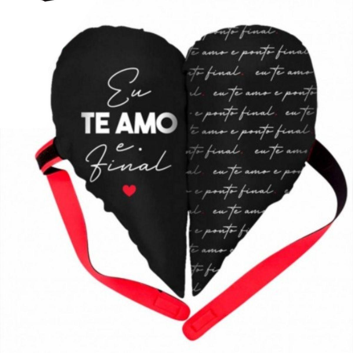 Almofada Coração Partido - Te Amo e Ponto Final Presente Namorados Brasfoot