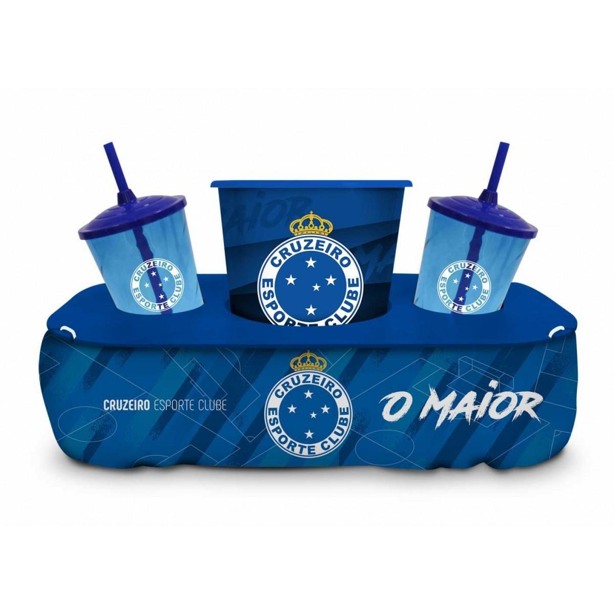 Almofada Porta Pipoca Copos Cruzeiro Oficial Presente Brasfoot