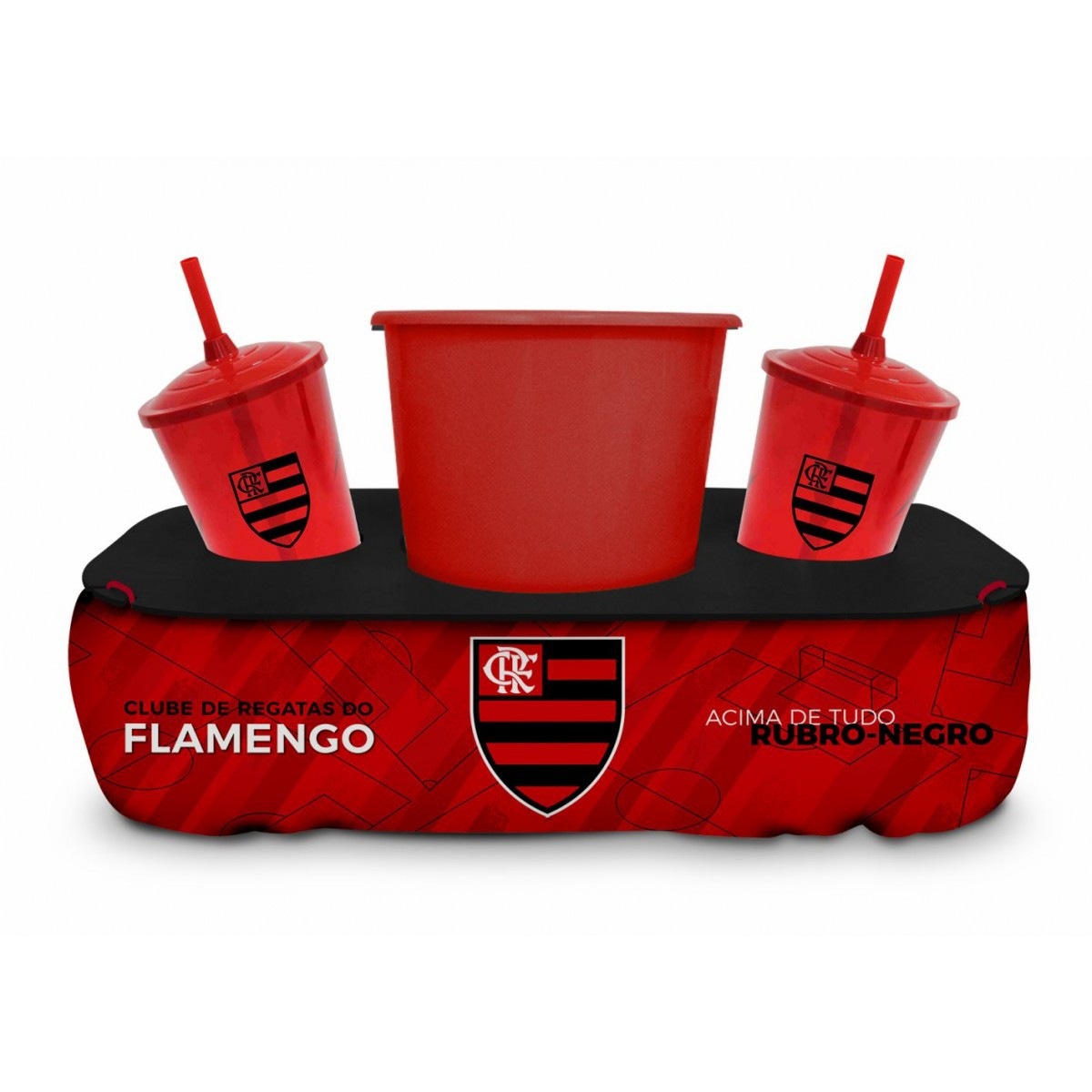 Almofada Porta Pipoca Copos Flamengo Oficial Presente Brasfoot