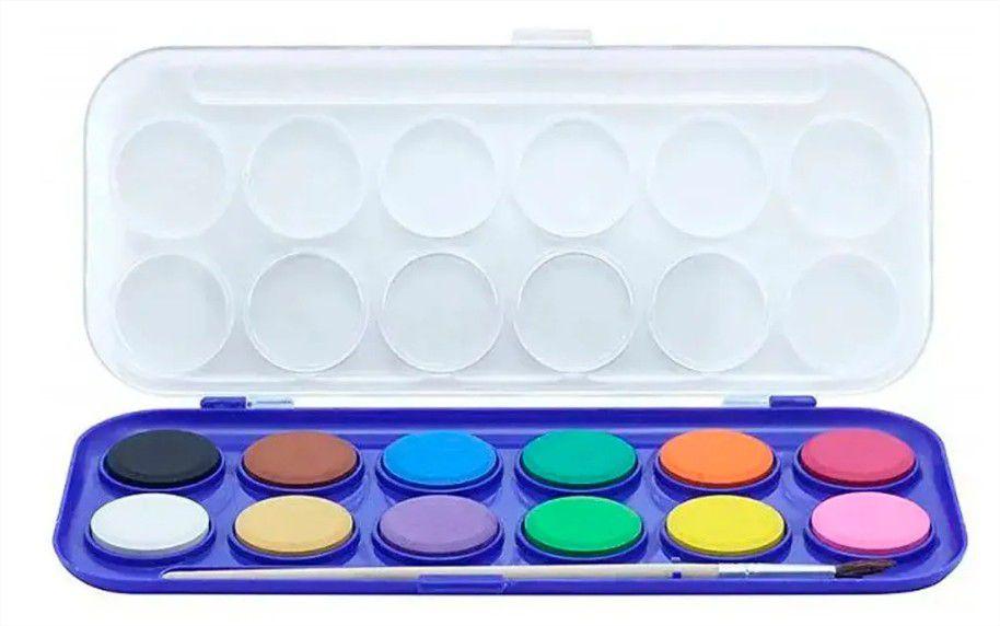 Tinta Aquarela em Pastilha com 12 cores e Pincel Cis