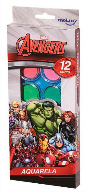 Aquarela Estojo Avengers Vingadores com 12 cores e Pincel Molin do Brasil