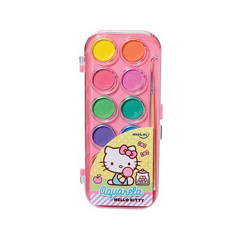 Aquarela Estojo Hello Kitty com 12 cores e Pincel Molin do Brasil