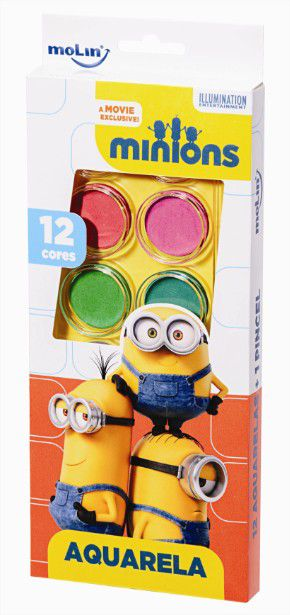 Aquarela Estojo Minions com 12 cores e Pincel Molin do Brasil