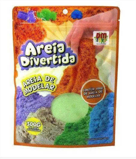 Areia de Modelar Cinética Divertida Cinética Kit c/3 Pacotes 300g Cada DM Toys