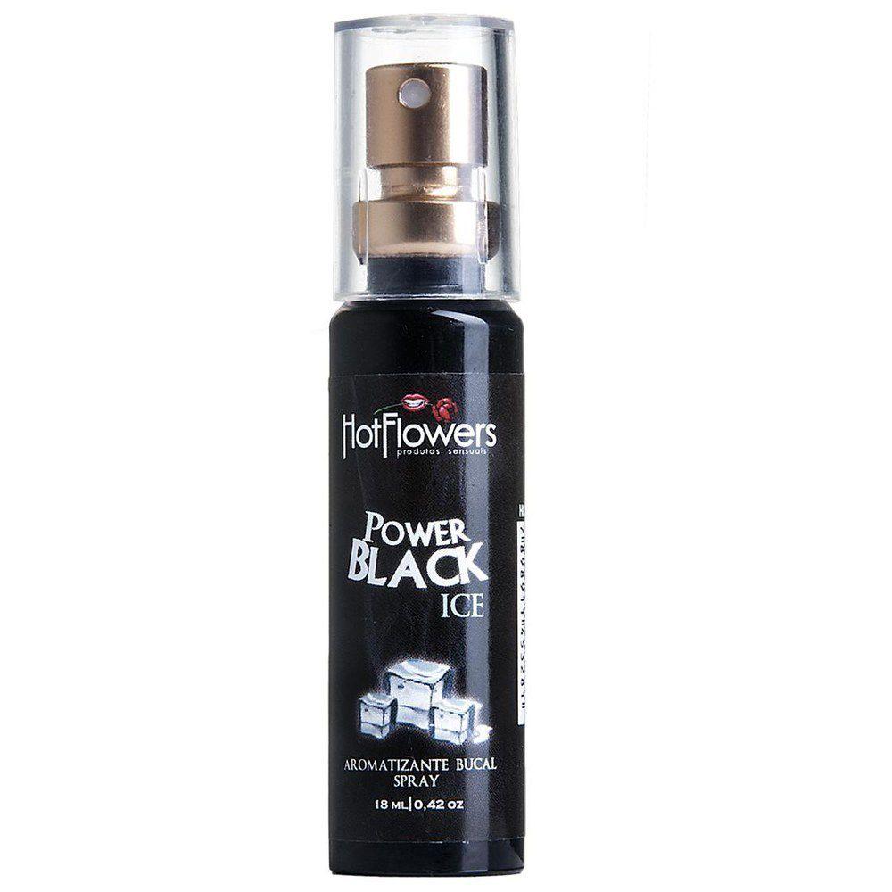 Aromatizante Bucal Power Black Esquenta e Esfria Spray 18ml Hot Flowers