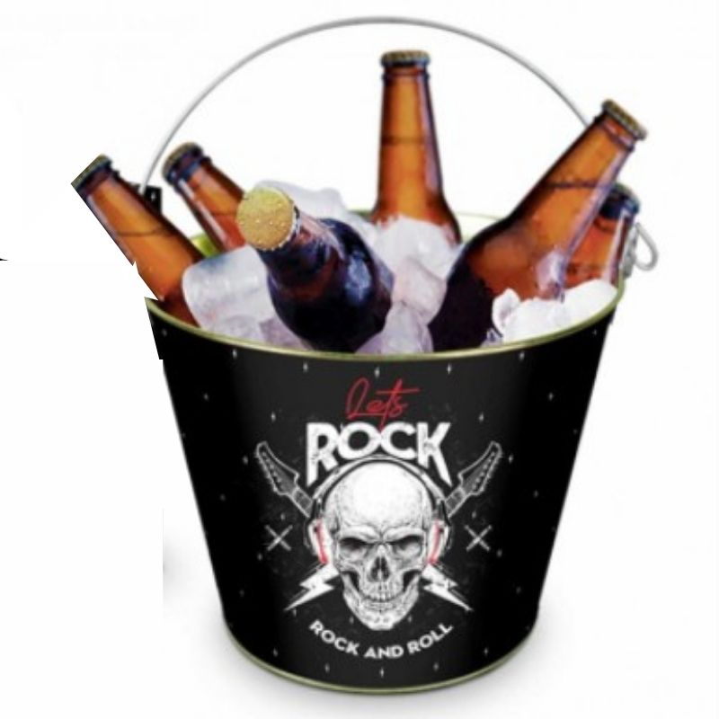 Balde Para Gelo Metal Decorado Caveira Lets Rock Brasfoot