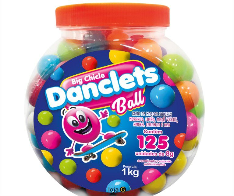 Big Chicle Danclets Ball Pote  com 125 unidades de Bola de Chicletes Danilla