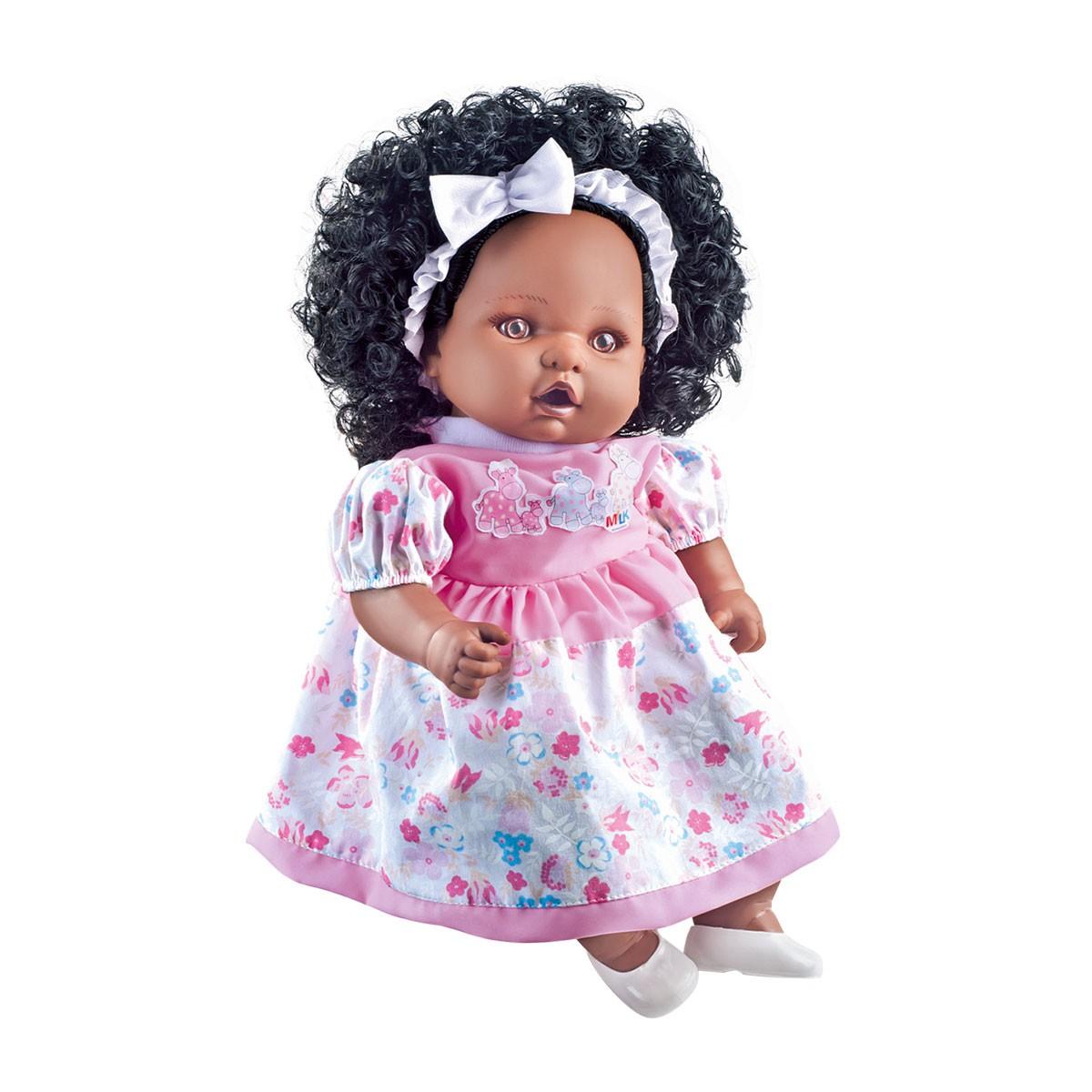 Boneca Collezione Angelina Negra Fala 62 Frases 48Cm Milk