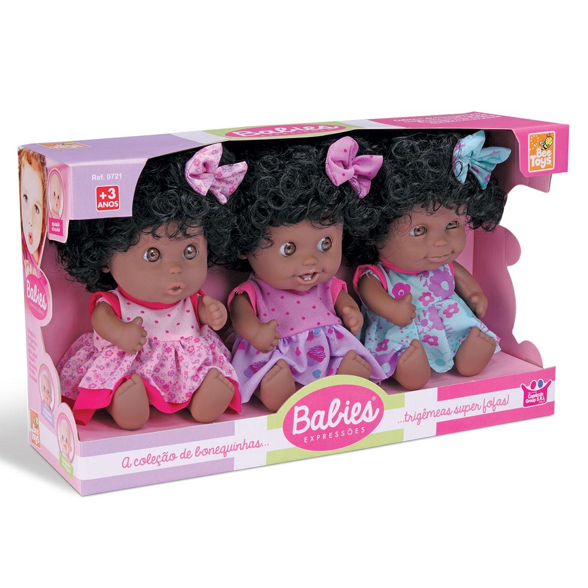 Bonecas Babies Expressões Trigêmeas Negra Vinil Bee Toys
