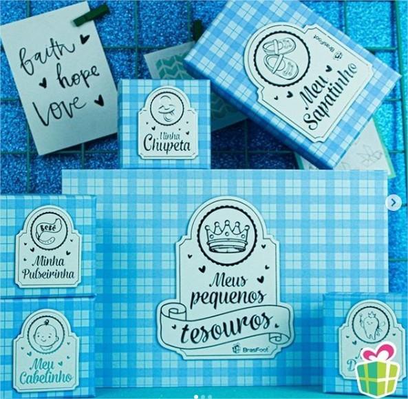 Caixa Porta Lembrança Bebê - Meus Pequenos Tesouros Azul Brasfoot