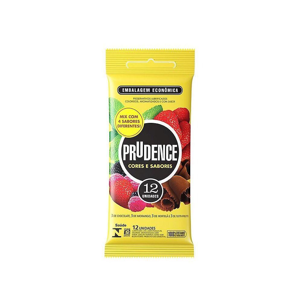 Camisinha Mix Cor e Sabor de Frutas Preservativo 1 pacote com 12 unid Prudence