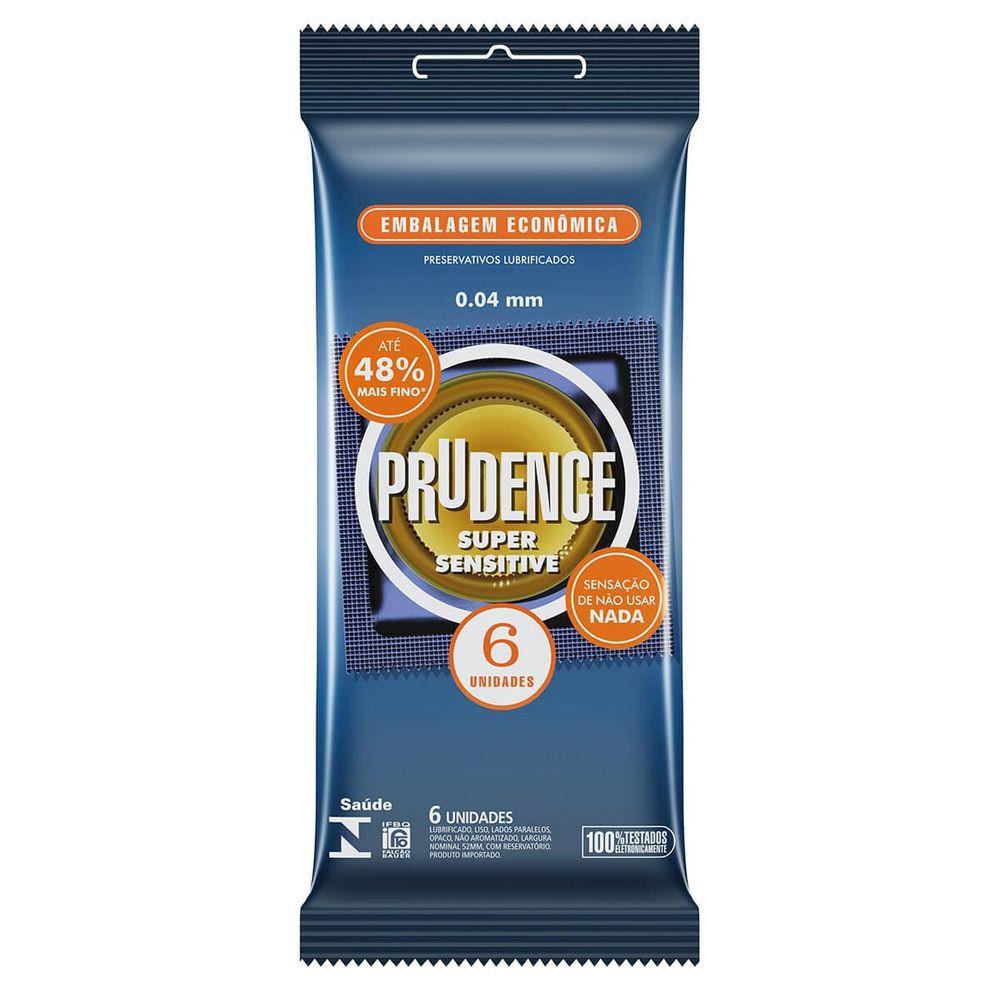 Camisinha  Super Sensitive Preservativo 1 pacote com 6 unid Prudence