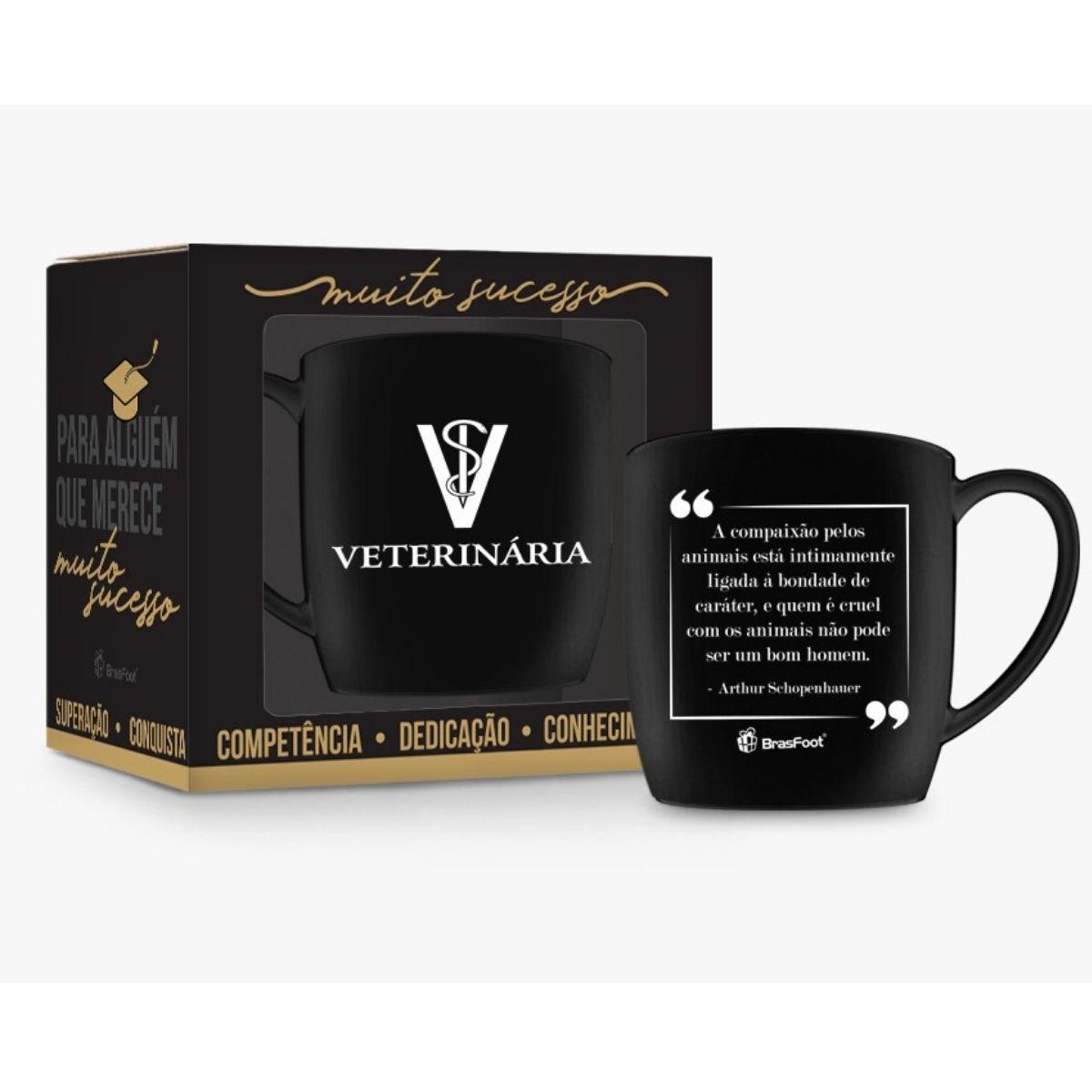 Caneca Porcelana 360ml na caixa - Curso Veterinária Presente Brasfoot