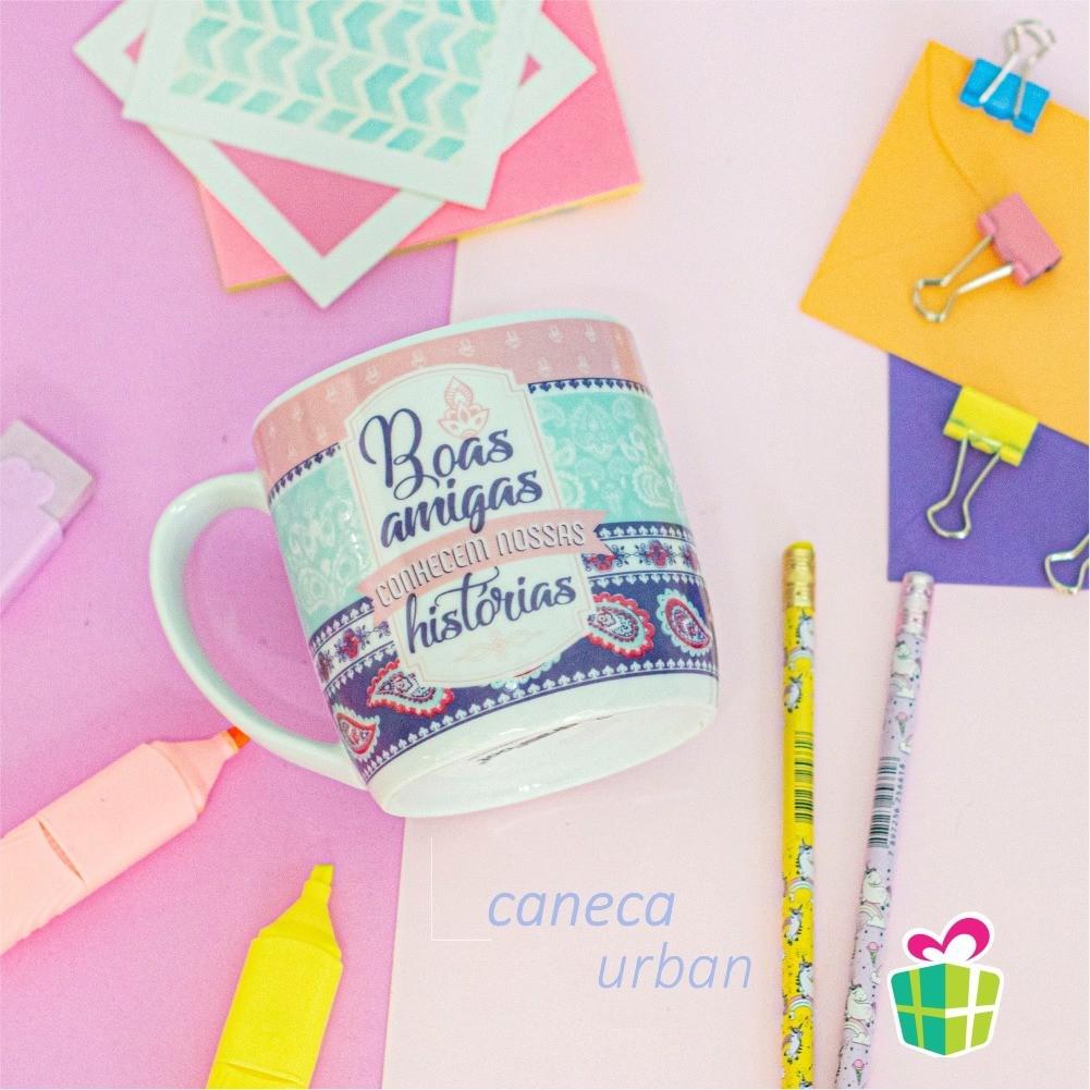 Caneca Porcelana Urban 360ml na caixa - Boas Amigas Brasfoot