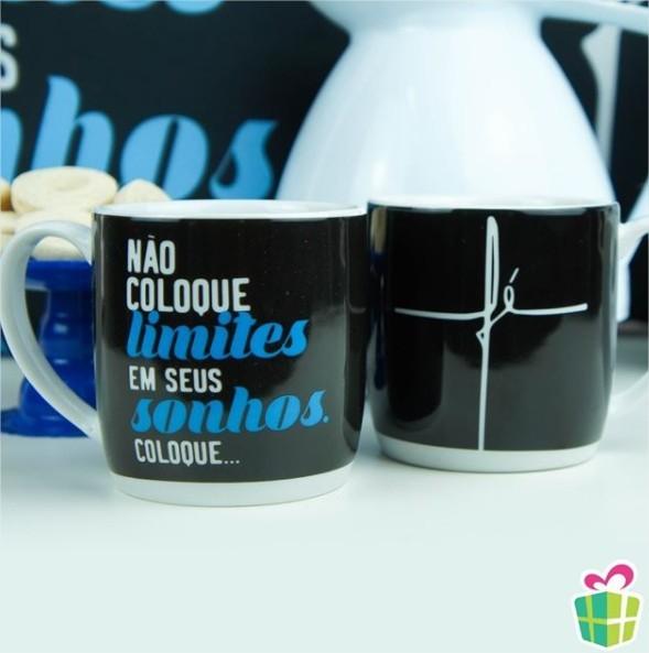Caneca Porcelana Urban 360ml na caixa - Fé - Não Coloque Limites Presente Brasfoot