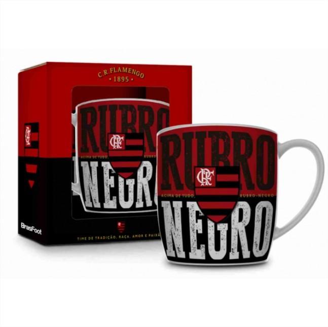 Caneca Porcelana Urban 360ml na caixa - Flamengo Rubro Negro Brasfoot