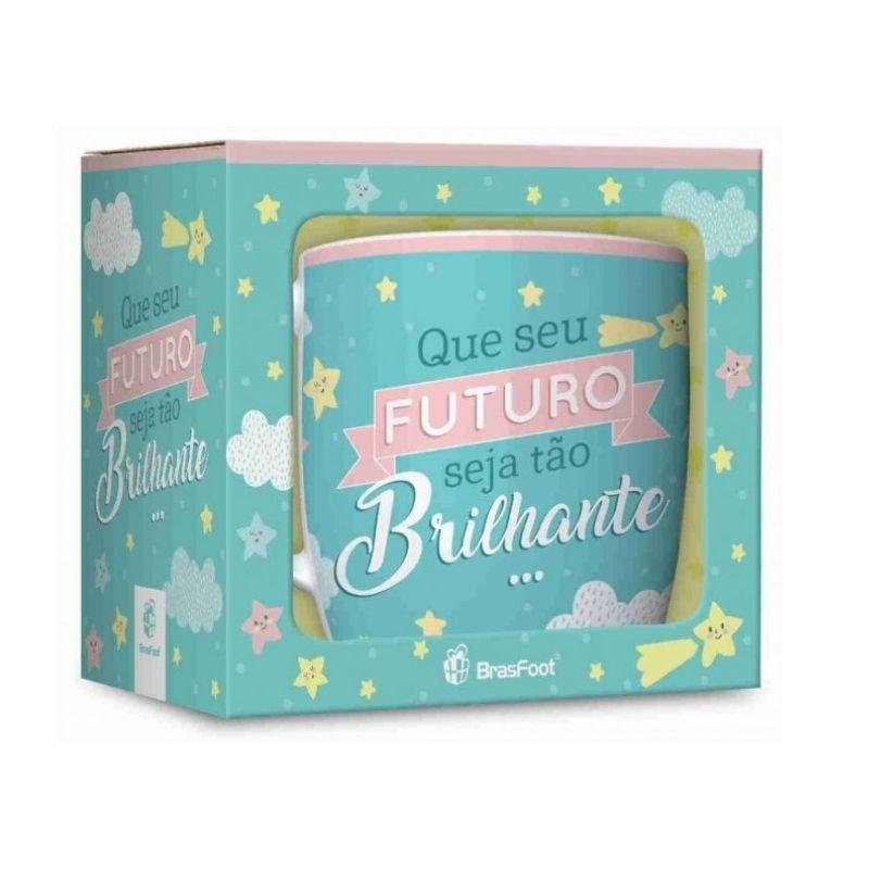 Caneca Porcelana Urban 360ml na caixa - Futuro Brilhante Brasfoot