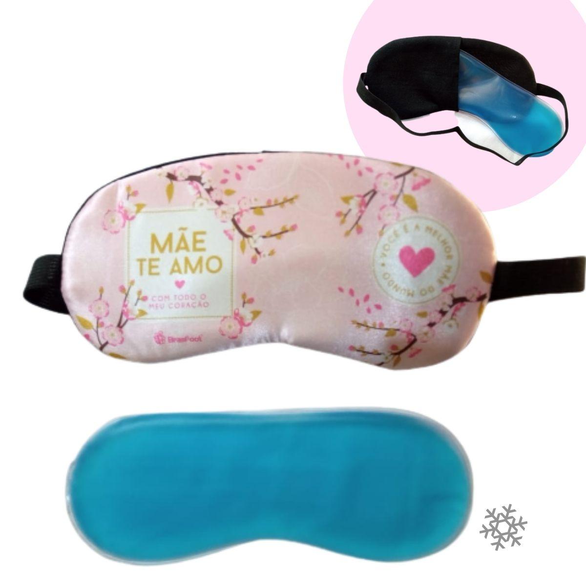 Caneca Termica 450ml+Mascara de Dormir Mãe Te Amo de Coração