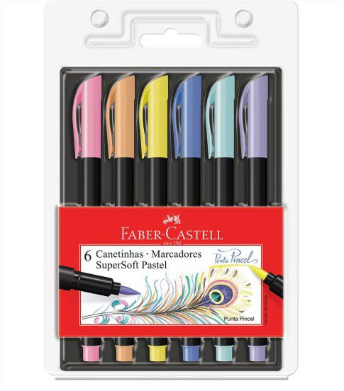 Caneta Pincel Brush Pen Pastel 6 Cores SuperSoft Faber Castell