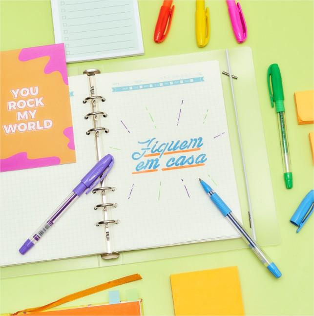 Caneta Esferográfica Gel Neon Estojo com 6 Cores Jocar Office
