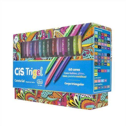 Caneta Gel 1.0mm Trigel Display 60 Cores Cis