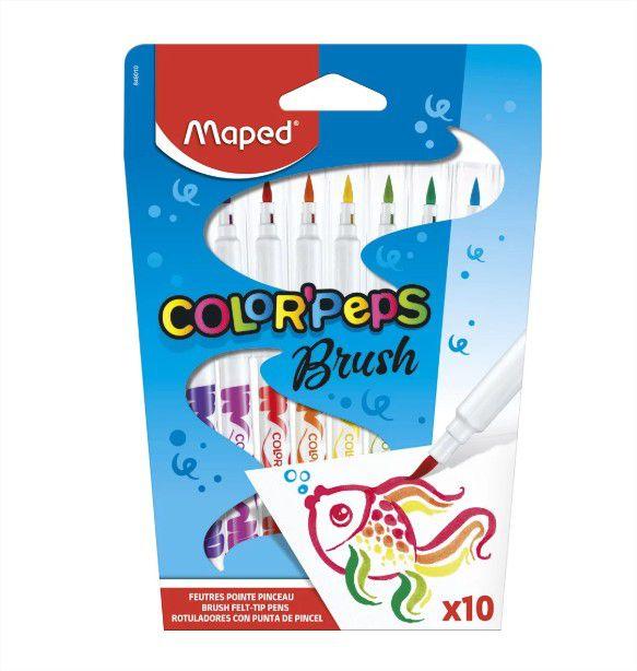 Caneta Hidrocor Color Peps Brush 10 Cores Maped