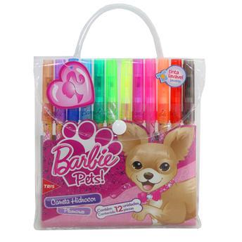 Caneta Hidrocor Ponta Fina 12 Cores Barbie Pets Tris