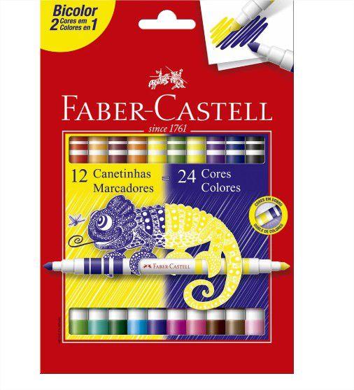 Caneta Hidrográfica Bicolor com 12 Unidades com 24 Cores Faber Castell