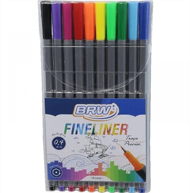 Caneta Hidrográfica Fineliner 0.4 Com 10 Cores Brw