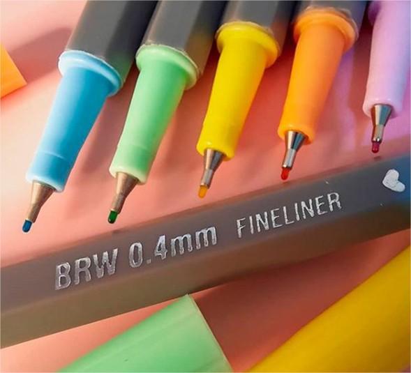 Caneta Hidrográfica Fineliner 0.4 Com 6 Cores Tom Pastel Brw