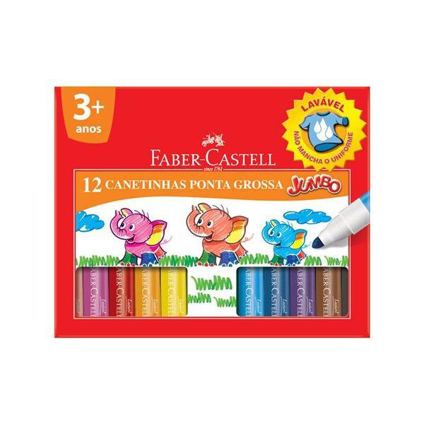 Caneta Hidrocor Jumbo com 12 cores Faber Castell