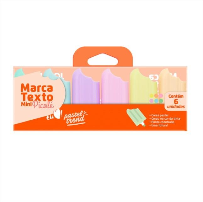 Caneta Marca Texto Mini Picolé Tons Pastéis 6 cores Jocar Office