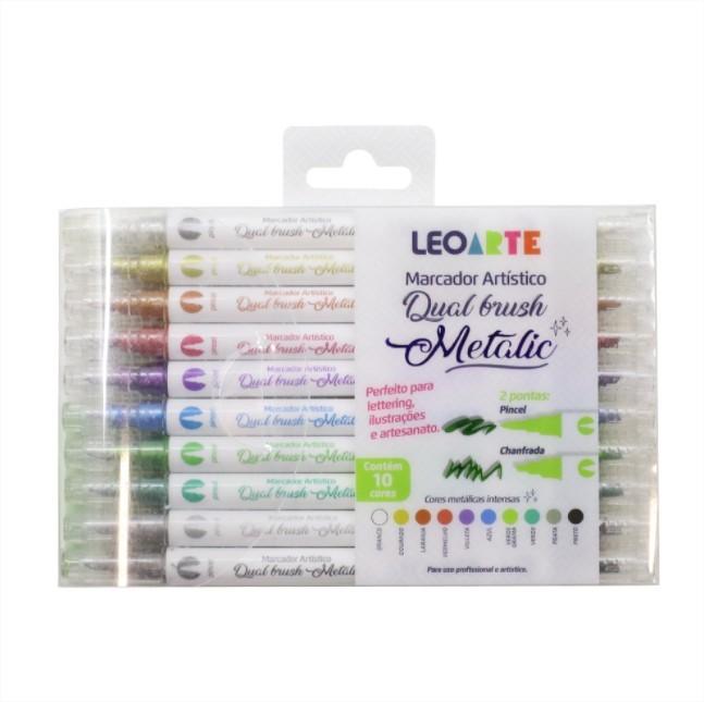 Caneta Marcador Artistico Dual Brush 10 cores Metalicas Lettering Leo Arte