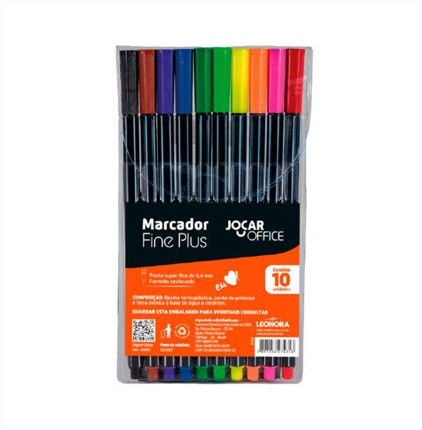 Caneta Marcador Fine Plus 10 cores Jocar Office