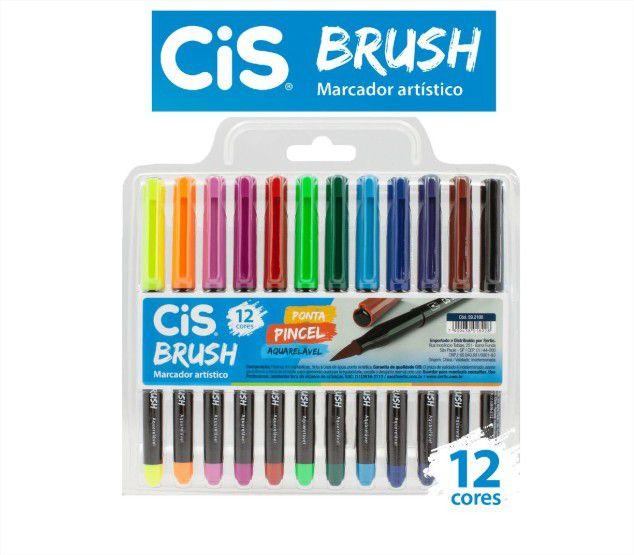 Caneta Pincel Aquarelável Marcador Artístico Brush 12 Cores Cis