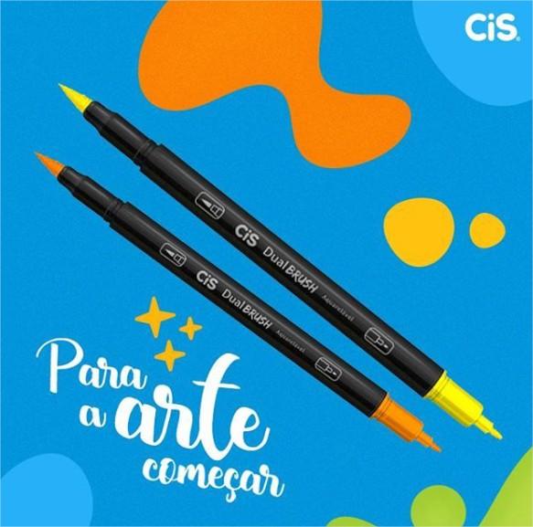 Caneta Pincel Aquarelável Pastel Dual Brush Pen Ponta Dupla 6 Cores Cis