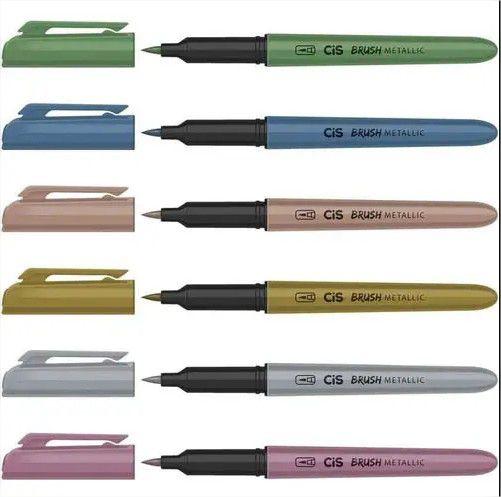 Caneta Pincel Marcador Brush Metallic 6 Cores Metalizadas Cis