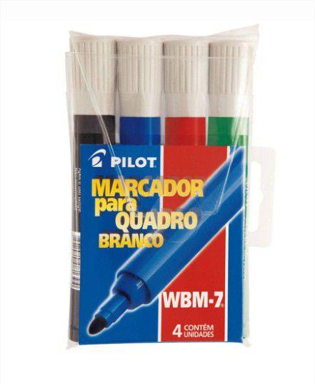 Caneta Pincel para Quadro Branco Lousa 4 Cores Wbm 7 Pilot