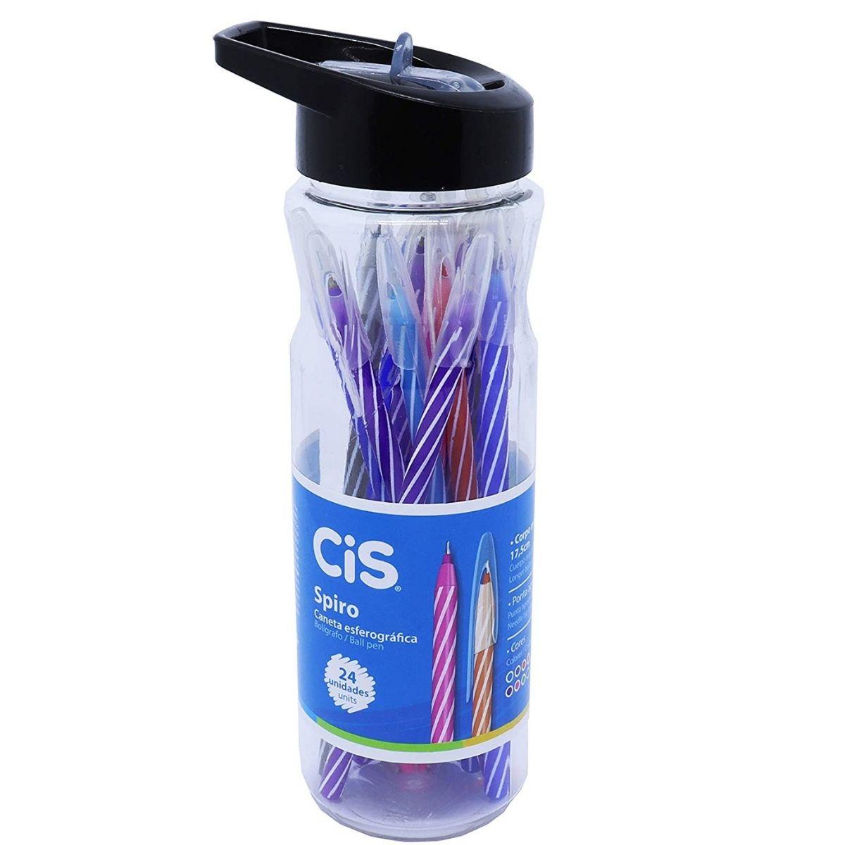 Caneta Spiro Esferográfica 0.7 Multicor Garrafa com 24 Unidades Sortida Cis