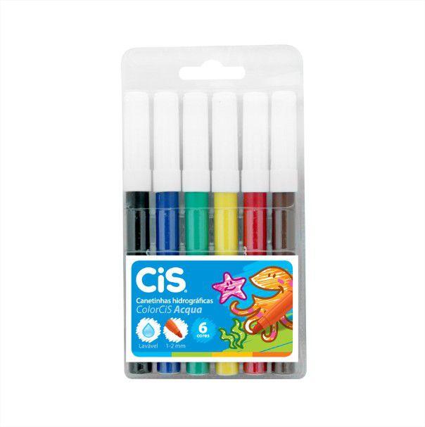 Canetinha Hidrográfica Color Acqua 6 Cores Cis